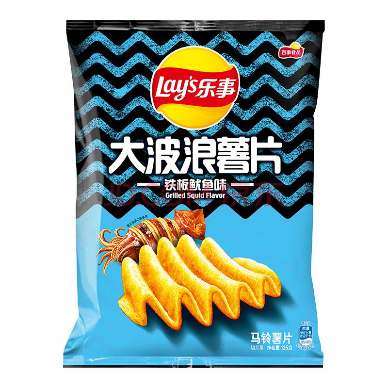 Lay's 乐事 大波浪薯片 铁板鱿鱼味 135g 8元,可优惠至3.6元