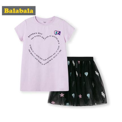 Balabala 巴拉巴拉 儿童短袖纱裙套装 39.9元包邮