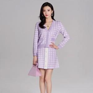 景甜同款Maje 香芋紫格纹开衫,折后$118
