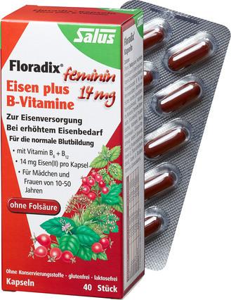 第二件半价!Salus Floradix莎露斯铁+维生素B胶囊 40粒凑单,到手约€13.85(约¥105)